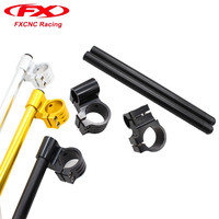 FX CNC 7 8 50mm Motorcycle HandleBars Regular And Raise Clip On Fork Handle Bars Clip