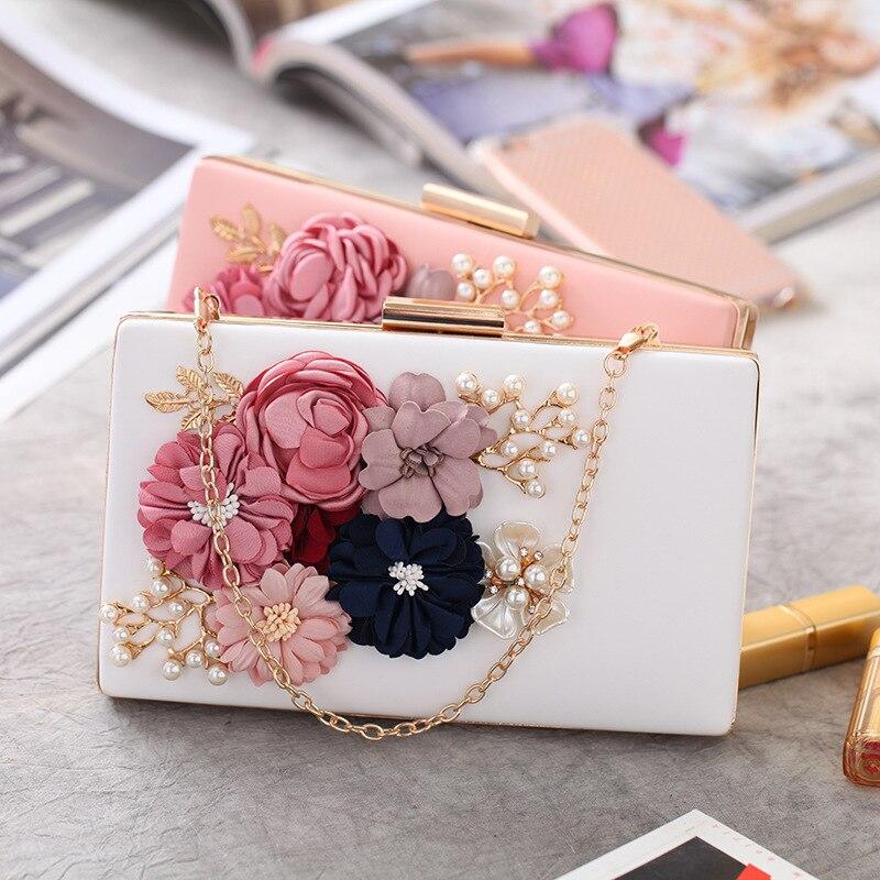 Beautiful Flower Applique clutch bag in 2 colours