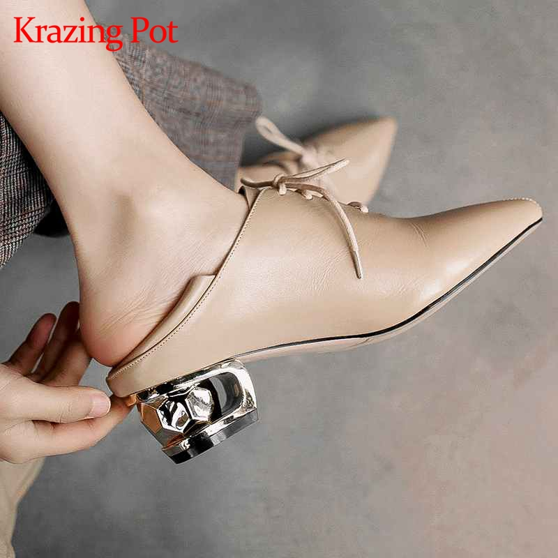 Krazing Pot hot sale genuine leather pointed toe metal med heels women pumps concise brand summer
