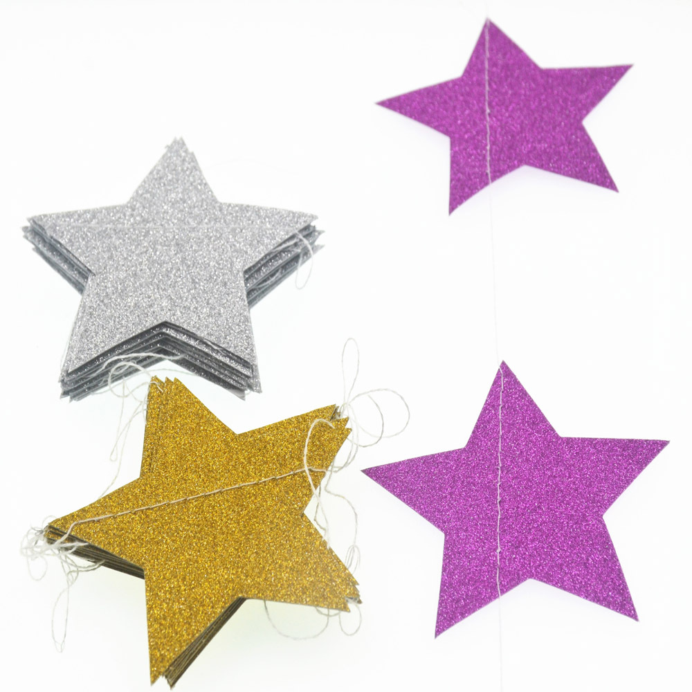 Gold star ornaments - Length 2m New Creative Paper Garland Strings Gold Silver Star Circle Wedding Party Birthday Baby Shower