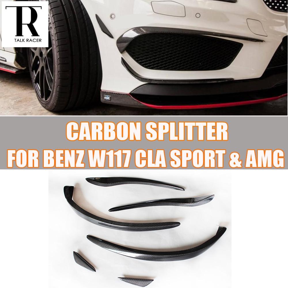 C117 karbon Fiber ön tampon yan kapakları Splitter Spoiler Benz W117 CLA180 CLA200 CLA250 CLA45 AMG spor tampon 14 -19