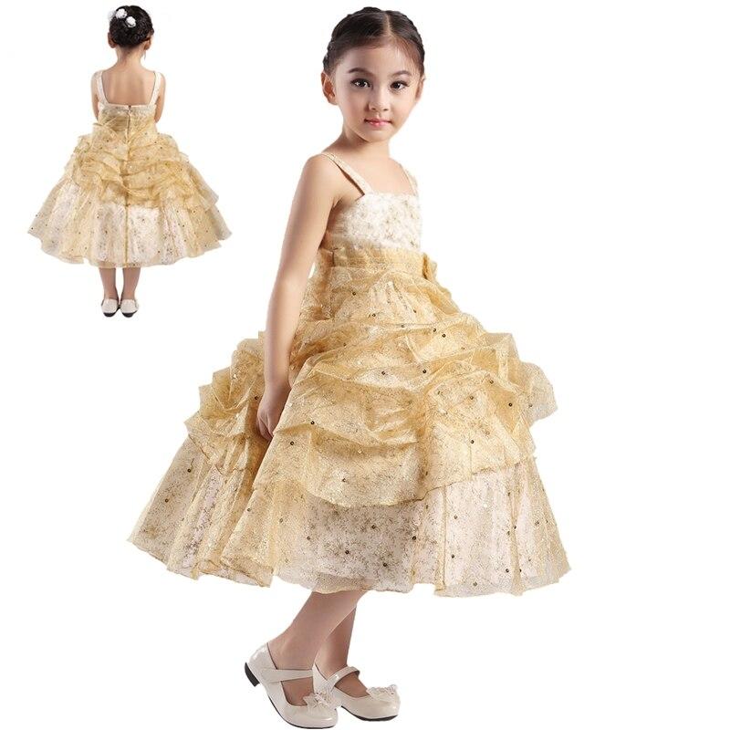 Stock Hot Sale Gold Flower Girl Dresses Plus Size Pageant Dresses