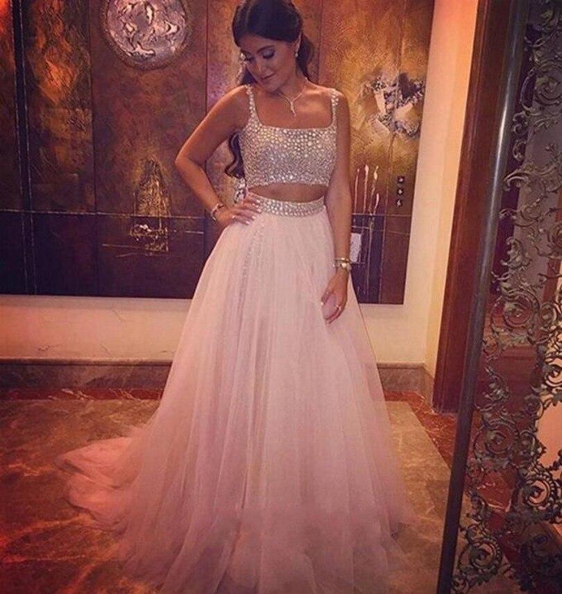 2016 Evening Dresses Two Pieces Beaded Rhinestones Vestido De Festa Princess Style Formal Gowns For Wedding Party Dresses