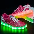 Mujeres Zapatos 2016 Nuevo Estilo de Luz Led Luminoso Informal Calidad Marca Ocio Schoenen Met Licht Transpirable Señora Brillante Zapato Usb