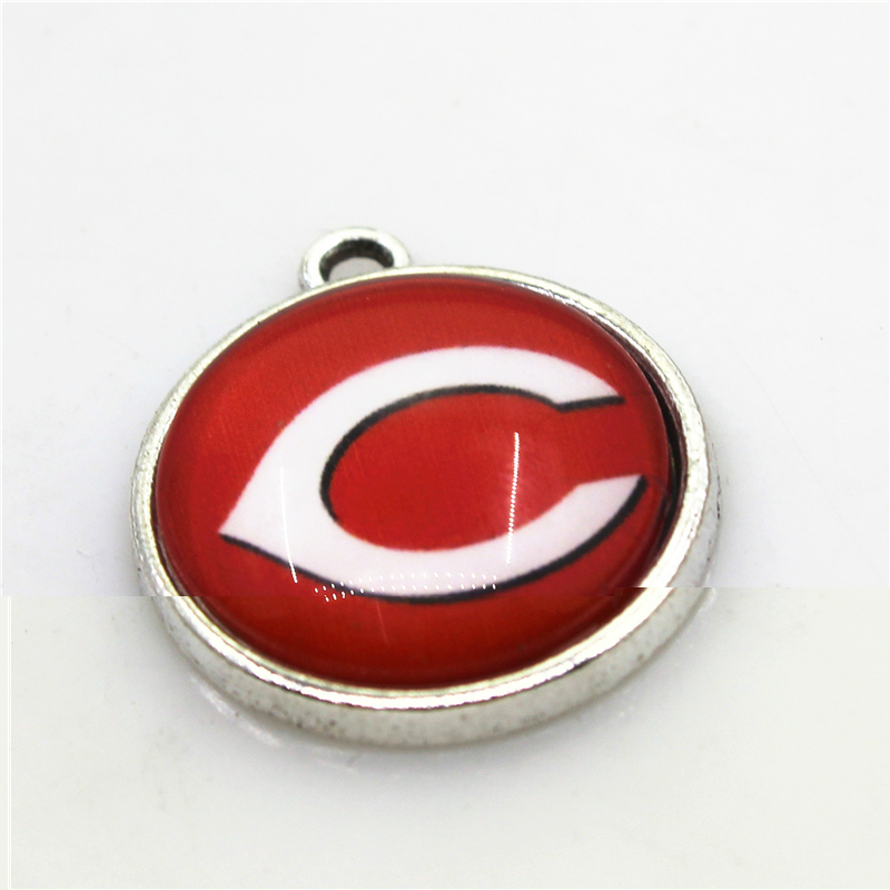 New Arrive 20pcs Cincinnati Reds Dangle Charms Jewelry Hanging Charm Baseball Sport DIY Bracelet Necklace Pendant Charms