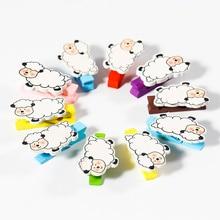 20pcs Cartoon Sheep Mini Solid Wood Clip Home Furnishing Menu Photo Personality Color Clamp for DIY Scrapbook Clincher