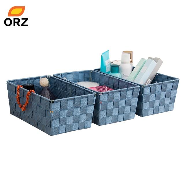 Orz 3pcs 30cm Storage Basket Candy Snacks Box Case Cosmetic Sundries Container Drawer Wardrobe Closet Desktop Organizer