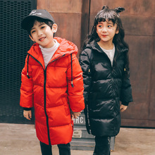 2017 Fashion Kids Winter Down Jackets Long Style Boys Girls Coat Warm Thicken Hoodied White Duck Down Children Outerwear