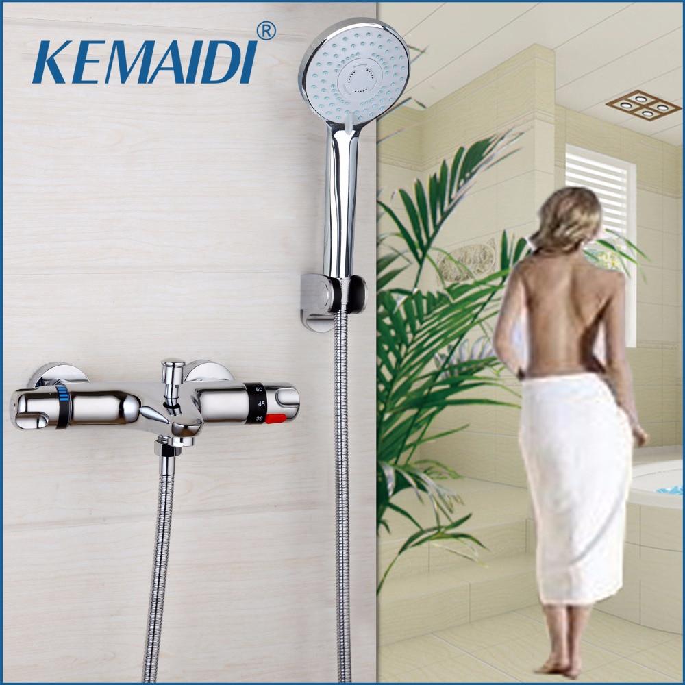 RU Thermostatic Shower Faucet Wall Mounted Double Handles Faucet Spout Filler Diverter Chrome Bathtub Valve Faucet Mixer Tap