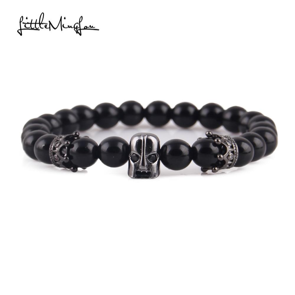 Little MingLou Men Bead Bracelet Black Eye Spartan Crown Bracelet - Bisutería - foto 4