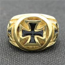 316L Stainless Steel Black & Golden Cross New Design Biker Ring