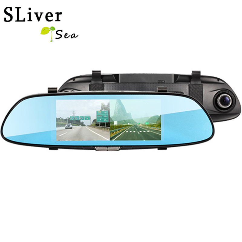 SLIVERYSEA 7 Car Camera DVR Dual Lens Rearview Mirror Video Recorder Full HD 1080P Automobile DVR Mirror Dash cam #B1268 plusobd car camera for bmw 5 series e60 e61 rearview mirror camera and video recorder automobile car dvr cheapest camcorder