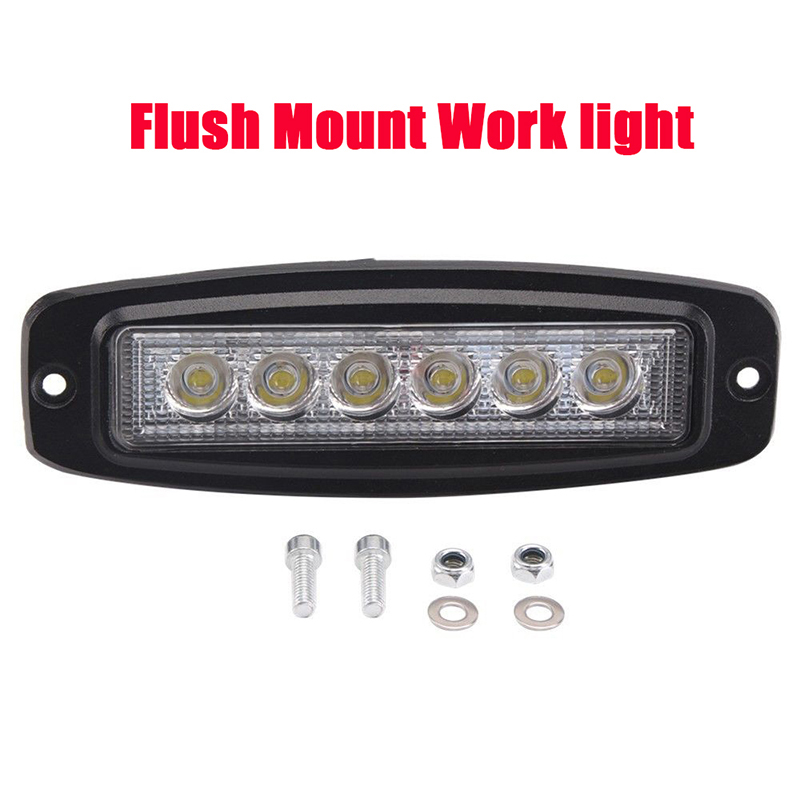 7inch 18W Flush Mount Led Work Light Bar Driving Pod Barra Led Fog Lamp Backup Bumper Rear Tailer Truck Auto Car Offroad 12v 24v