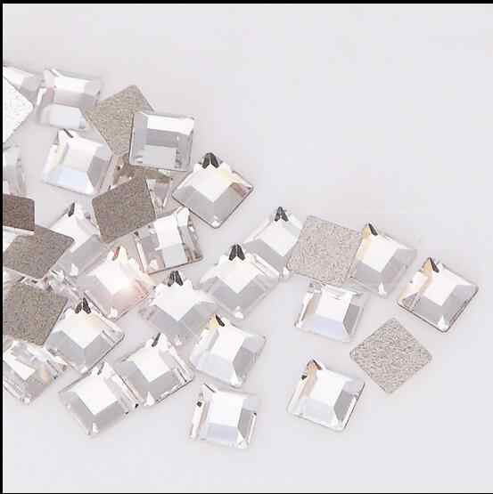 50pcs nail rhinestones 2mm 4mm square Special shape diamond lens nail sticker glass flat-bottomed diamond Flashes diy tool
