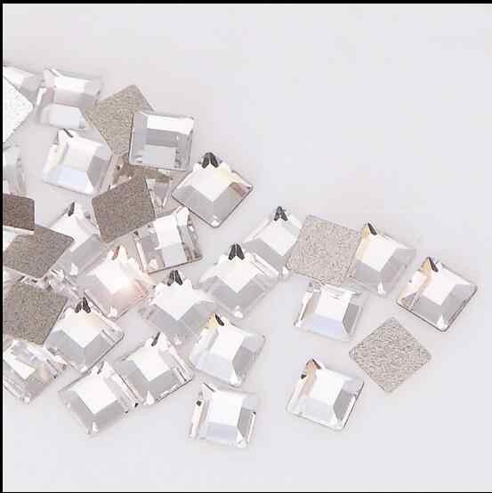 50 pcs เล็บ rhinestones 2mm 4mm สแควร์รูปร่างพิเศษเลนส์เพชรเล็บสติกเกอร์กระจกแบน bottomed เพชรกะพริบ diy เครื่องมือ