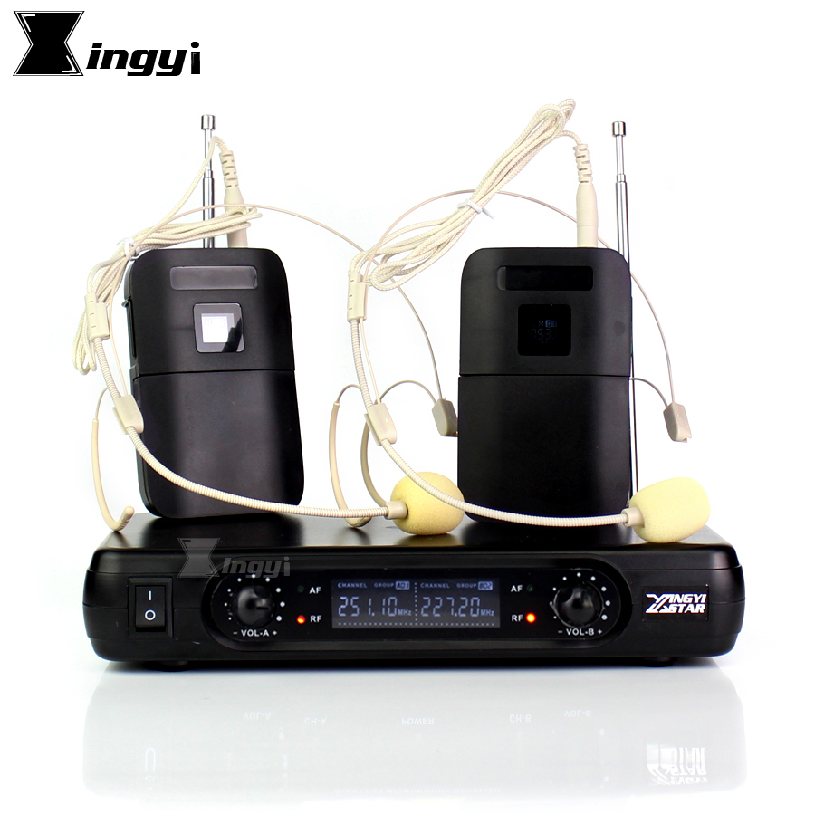Professional Wireless Microphone Headworn Mic 2 Channels Digital Cordless Receiver BLX1 Bodypack Transmitter For Stage Singing