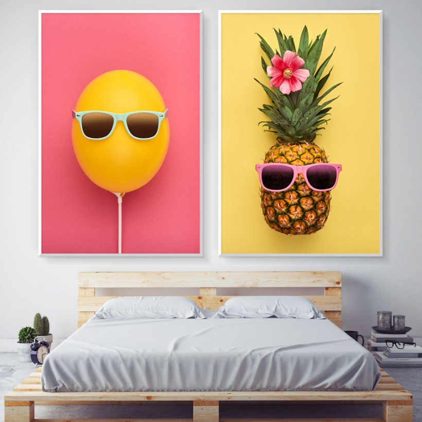 Gohipang Abstract Canvas Painting Fruit Pineapple Orange Glasses Poster Nordic Style Pictures Wall Art Print For Living Room