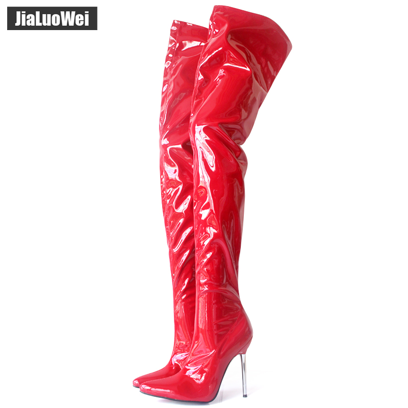 Woman's Spring/Autumn Thigh High Boots Sexy Boots High Heel Patent Leather Zipper Over Knee Pointed Toe Boots Customize Design knee high women spring autumn boots sexy high heel leather boots pointed toe buckle decoration designer boots wine white shoes
