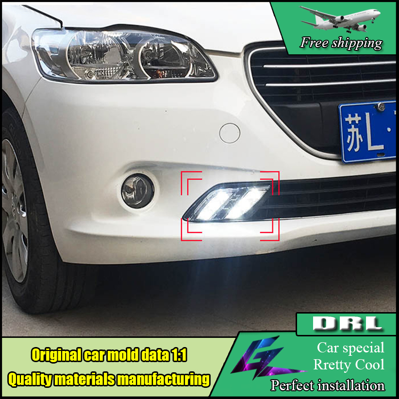 Car Styling LED DRL For Peugeot 301 LED daytime running light 2014 2015 High brightness guide LED Fog Lamp DRL Daylight akd car styling for kia k5 drl 2014 2015 new optima led drl korea design led running light fog light parking accessories