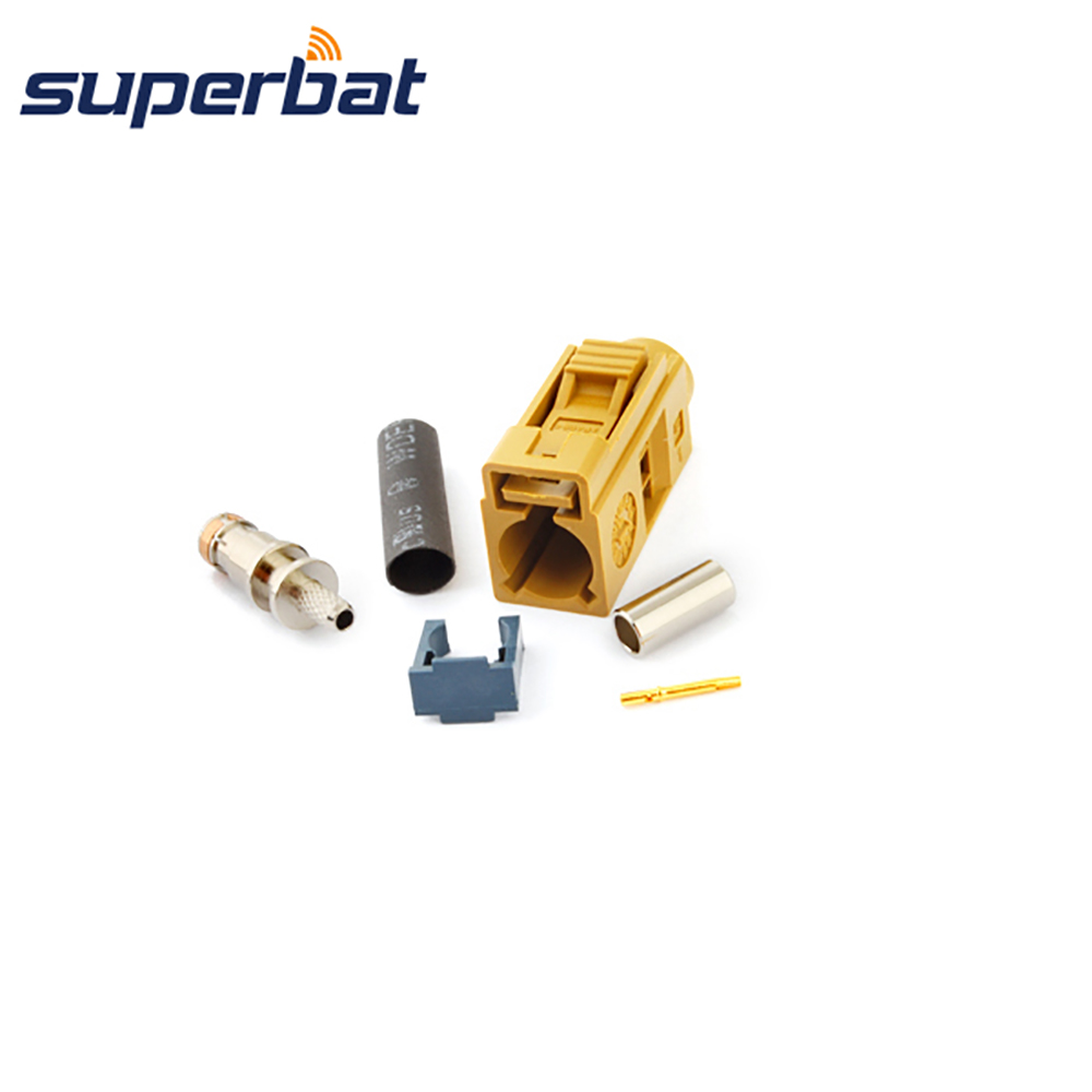 Superbat Fakra K Curry/1027 Crimp Female Jack Connector Car Antenna Satellitic Radio With IF For Coax Cable RG316 RG174 LMR100