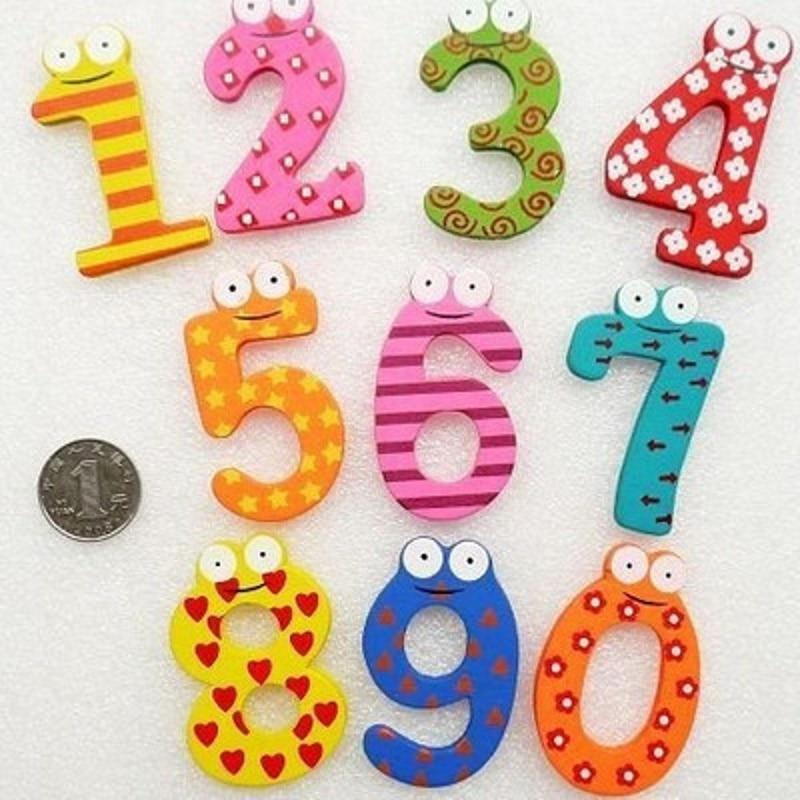 1 Stks 0-9 Aantal Houten Magneet Onderwijs Leer Leuke Kind Baby Speelgoed