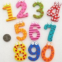1PCS 0-9 Number Wooden Fridge Magnet Education Learn Cute Kid Baby Toy