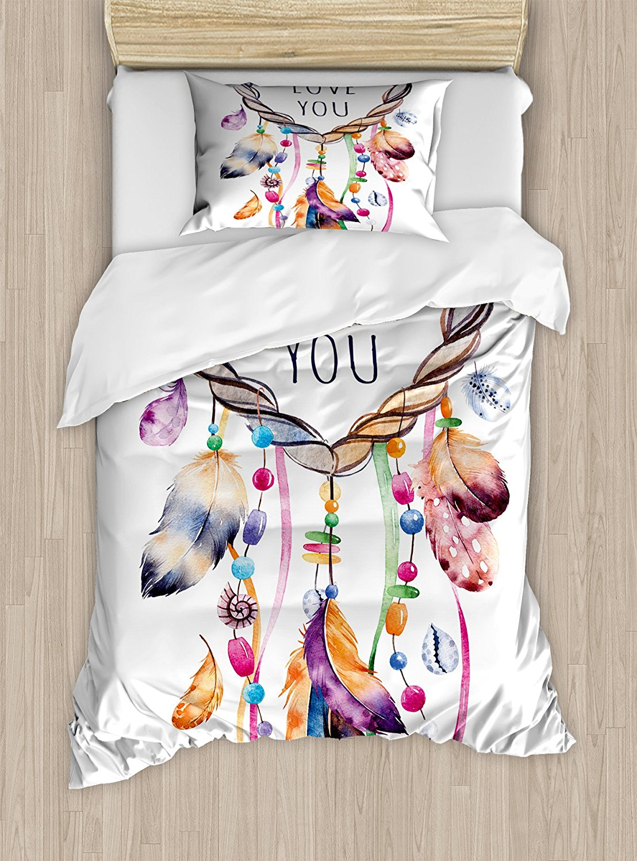 Постельное белье, рисованной Dream Catcher иллюстрации этнические богемные Стиль образ яркие Цветной, 4 шт. Постельное белье