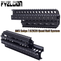 FYZLCION AKS Saiga 7.62x39 Tactical Quad Rail See through Scope For AK47 74 With Rubber Covers Picatinny with 8pcs Rail Covers