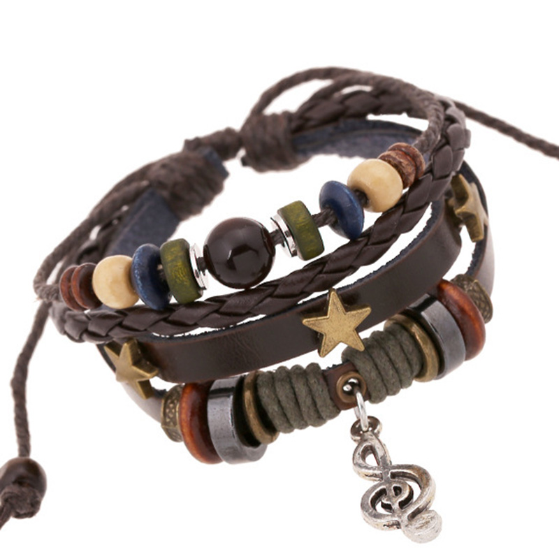 Leather Braided Bracelet for women men Weave Multi-layer Punk Style Bracelet decorations Adjustable Genuine leather bracelet
