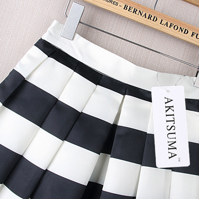 7403da58d AKITSUMA Fashion A Line Striped Skirts Womens Casual Pleated Midi Skirt  Polyester Spring Autumn Zipper Skirts-in Skirts from Women's Clothing on ...