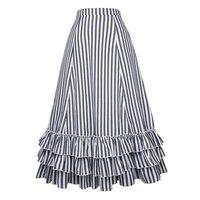 Belle Poque Noir et Blanc Rayé A-ligne Jupes Longues D'été Nouveau Réglable Cordons Rétro Swing Ruches Jupe Vintage 50 s 60 s