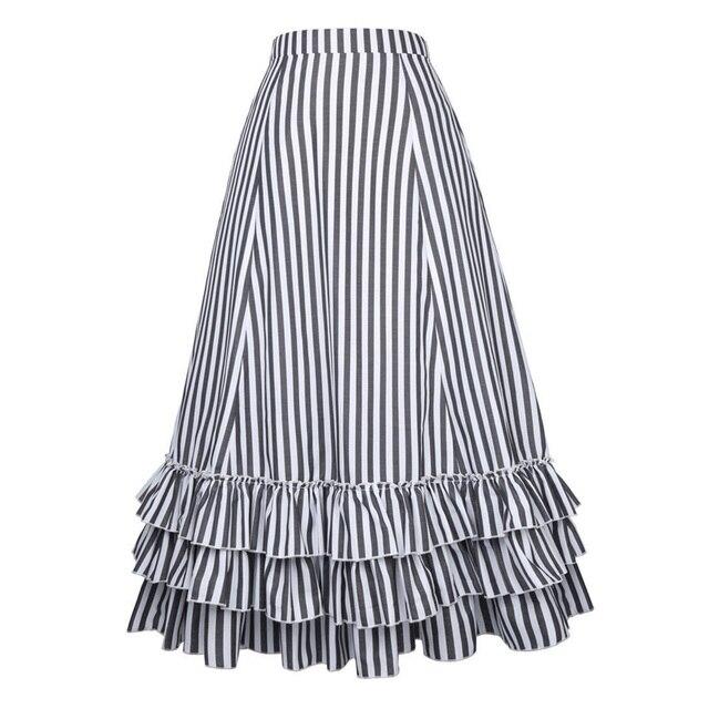 lange rok zwart wit gestreept