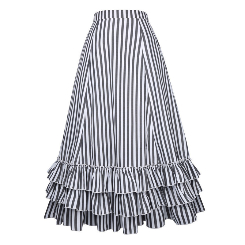 premium selection f8c86 ac4f8 US $27.09 46% di SCONTO|Belle Poque in Bianco e Nero A Righe di A Line  Gonne Lunghe Estate Nuovo Regolabile Coulisse Retro Swing Ruffles Skirt  Vintage ...