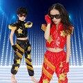 Envío Libre Rojo Negro Niños Trajes de Baile Hip Hop Traje Niños Niñas Niños Escenario de Funcionamiento Ropa de Baile de Jazz Desgaste de la Danza