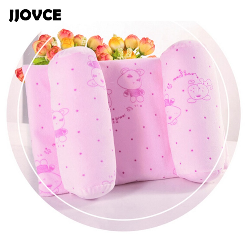 JJOVCE Lovely Cartoon Print Concave Adjustable Shaping Pillows for Newborn Baby Blue/ Pink Comfortable Anti Roll Children Pillow