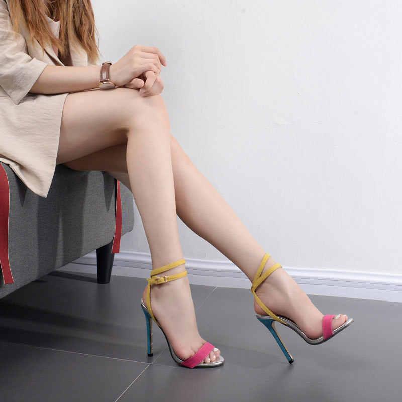 Летние сандалии, обувь на высоком каблуке, пряжки, браслеты на лодыжки, расцветка, мода, пальцы ног, тонкие и большие размеры женской обуви.