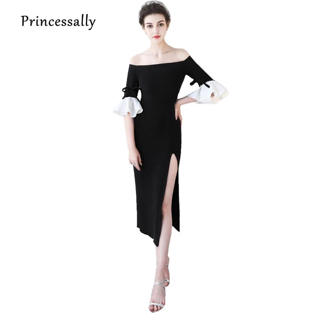 Nouvelle Petite Robe Noire Robe De Soiree Longueur The Sexy Col Bateau Haute Fente Droite Demi Manches Elegant Retour Robe De Fete Aliexpress