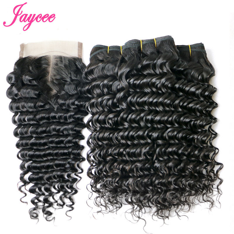 Jaycee Brazilian Deep Wave Hair With Closure Deep Wave Brazilian Hair Brazilian Curly Hair Human Hair With Closure 4 Bundles