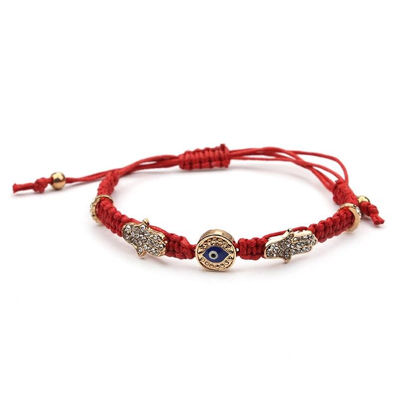 Hamsa Hand Blue Evil Eye Charms Red Rope String Braided Handmade Bracelet For Women Adjustable Length