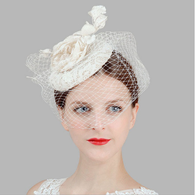solid veil fascinator flower hairpin women s white lace linen top hats  party fedoras rose Hair Clip wedding headwear 198aee6da09