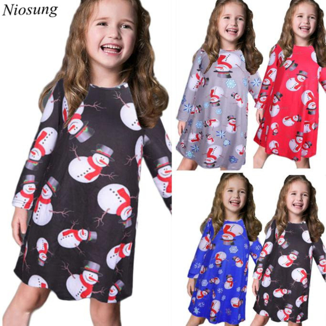 Christmas Swing Dress.Us 5 82 Tc New Cute Kids Girls Baby Xmas Long Sleeve Snowman Christmas Print Swing Dress Child Xmas Party Clothing Red Attention In Dresses From