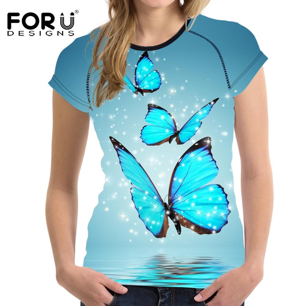FORUDESIGNS 3D motýl dámské tričko letní tričko s krátkým rukávem Žena tílko Topy Soft Bodybuilding Slime Tees Lady Shirts