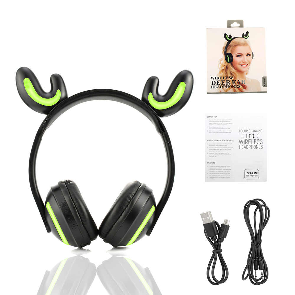 Bluetooth Stereo Cat Ear Headphones Flashing Glowing cat ear headphones Gaming Headset Earphone 3 Colors LED light