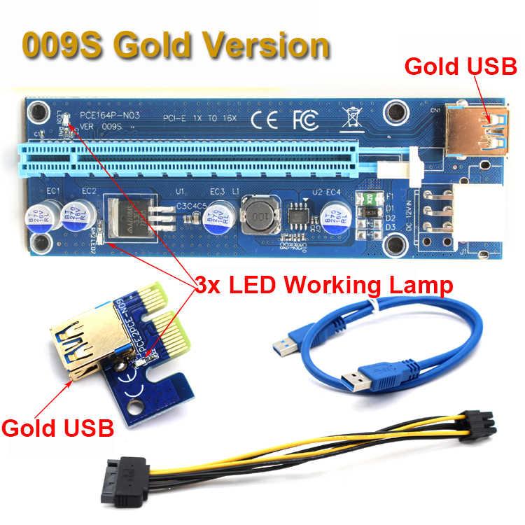 50 יחידות 009 S USB PCIe PCI-E PCI Express Riser כרטיס 1X to16x משכימי 3.0 אספקת חשמל SATA 6 פינים כבל נתונים BTC כורה עם 2 LED