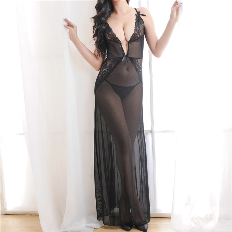 YUFEIDA Sexy Lady Nightgowns Lace Mesh Long Dress Babydoll Sexy Women Apparel Teddy Dress with G-Strings Costumes Sleepshirts