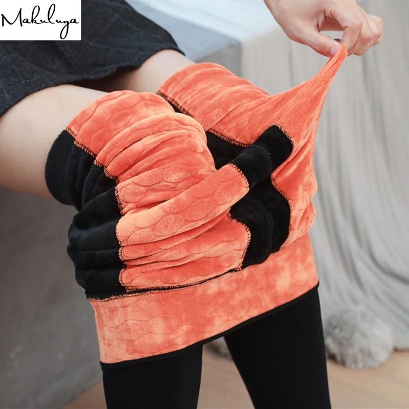 Makuluyua New Arrivals 600g Super Warm Lock Hot Air Thcikening Velvet Women Leggings Slim Leg Soft Feeling Winter Leggings QW45