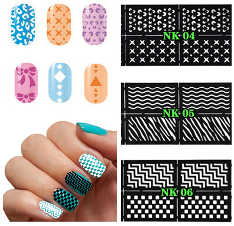 ⃝3packs Nail Art Stickers 6 designs Magical Printing Decals Stencil ...