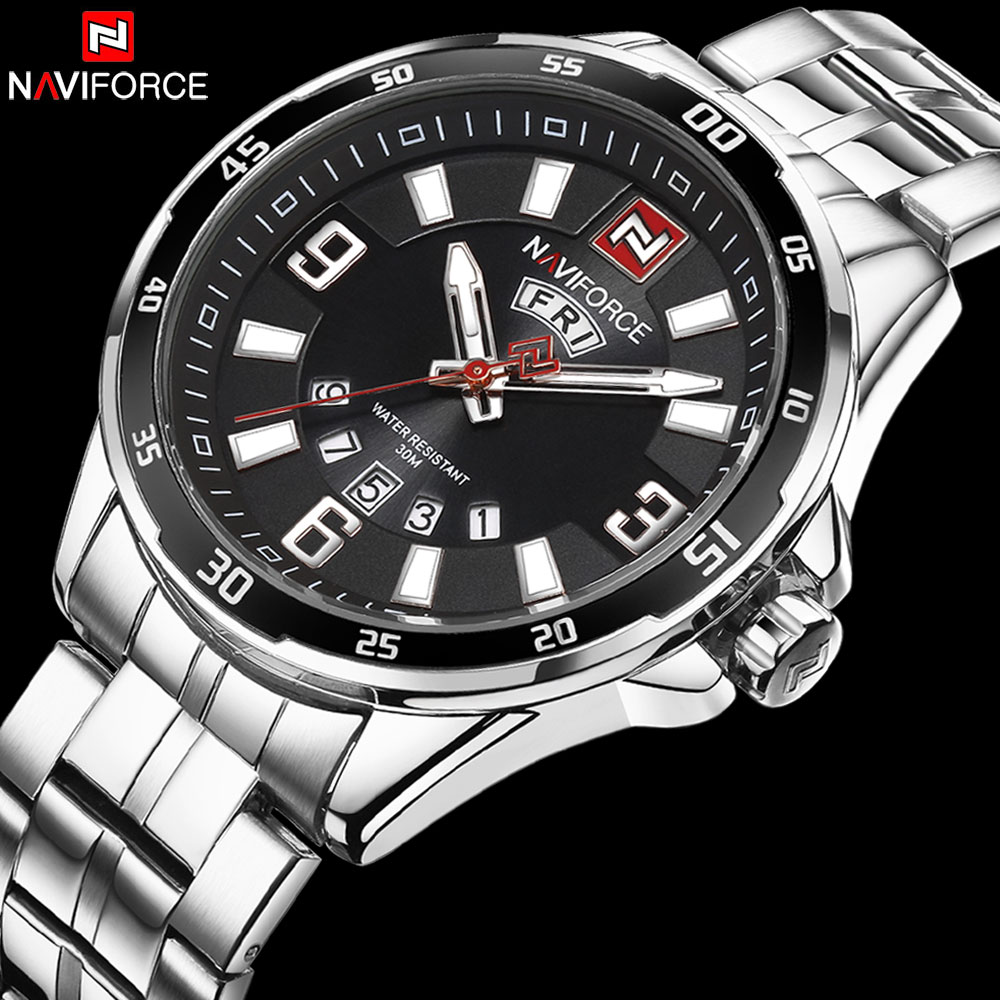 NAVIFORCE Luxury Brand Men Sport Watches Mens Quartz Analog Clock Man Military Waterproof Full Steel Watch Men relogio masculino naviforce men s military sports watches men led digital watch waterproof full steel quartz watches man clock relogio masculino