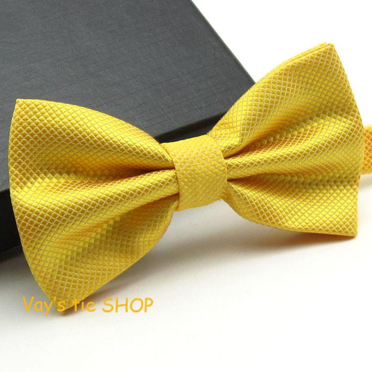 1pc Fashion Plaid Bow Ties For Men Dull Jacquard Bowties Grid Leisure Yellow Gold Wedding Tuxedo Bow Ties Free Shipping 12*6cm