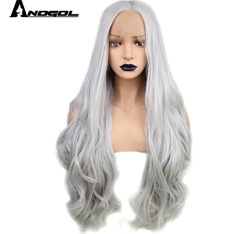 Anogol High Temperature Fiber Perruque Glueless Full Wigs U Part Water Silver Grey Long Body Wave Synthetic Lace Front Wig